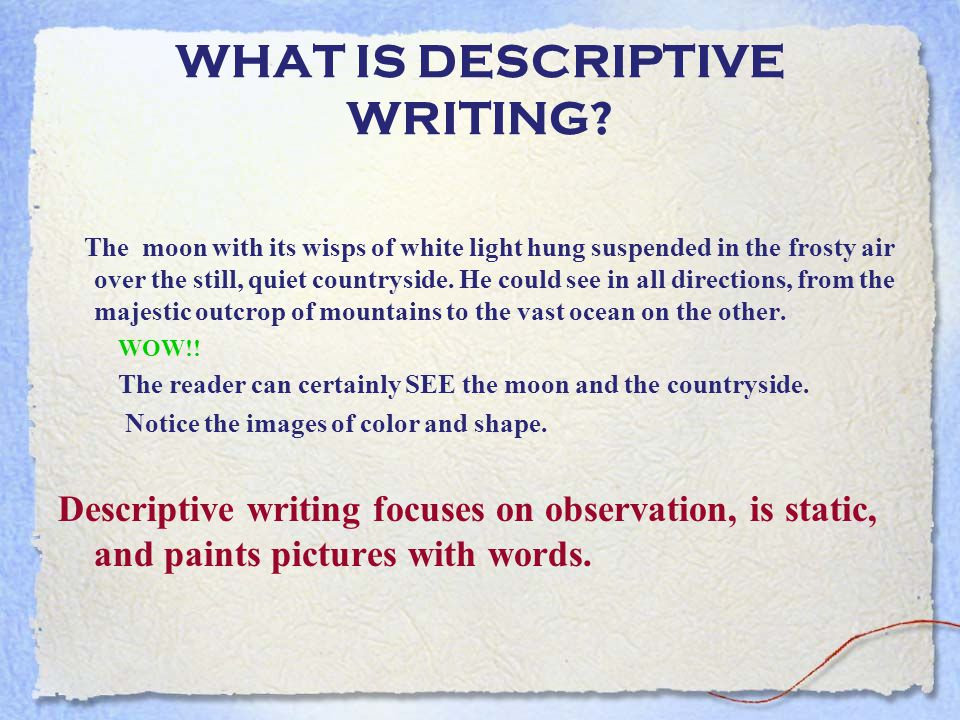 descriptive writing ppt video online  what is descriptive writing