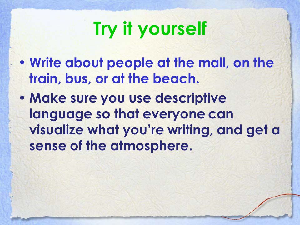 descriptive writing ppt video online  6 try