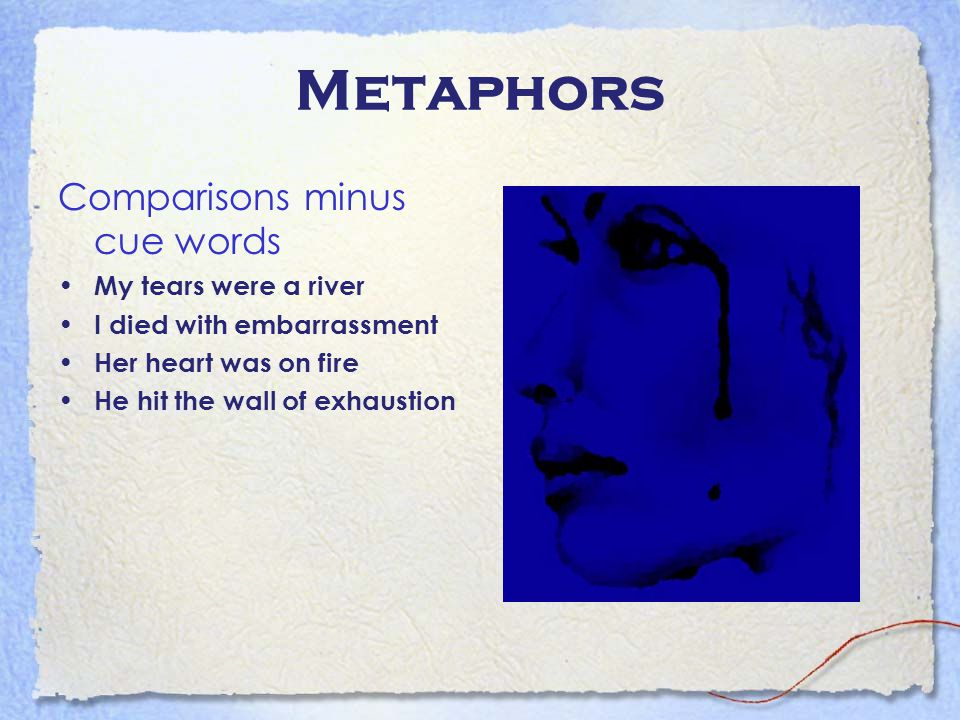 Metaphors Comparisons minus cue words My tears were a river