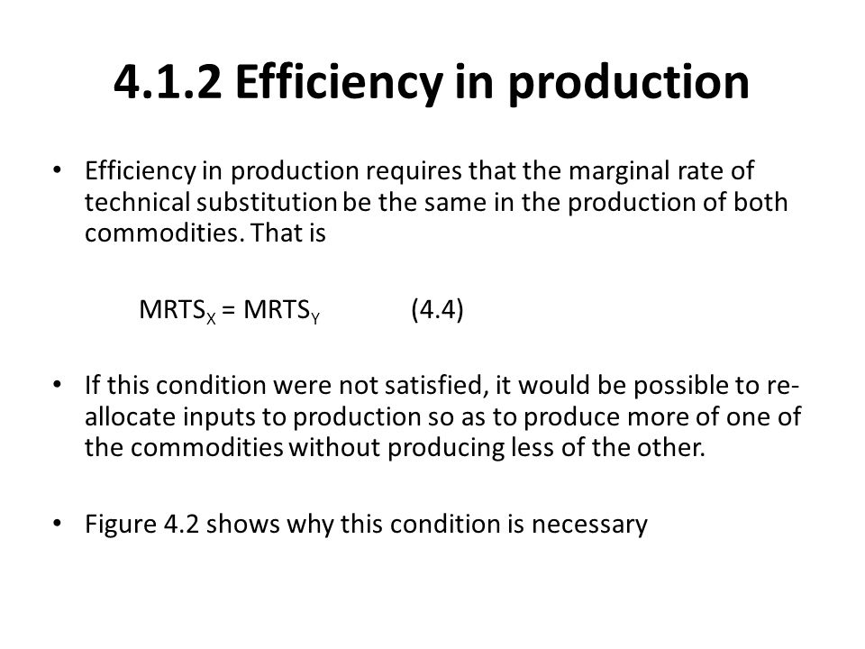 4.1.2 Efficiency in production