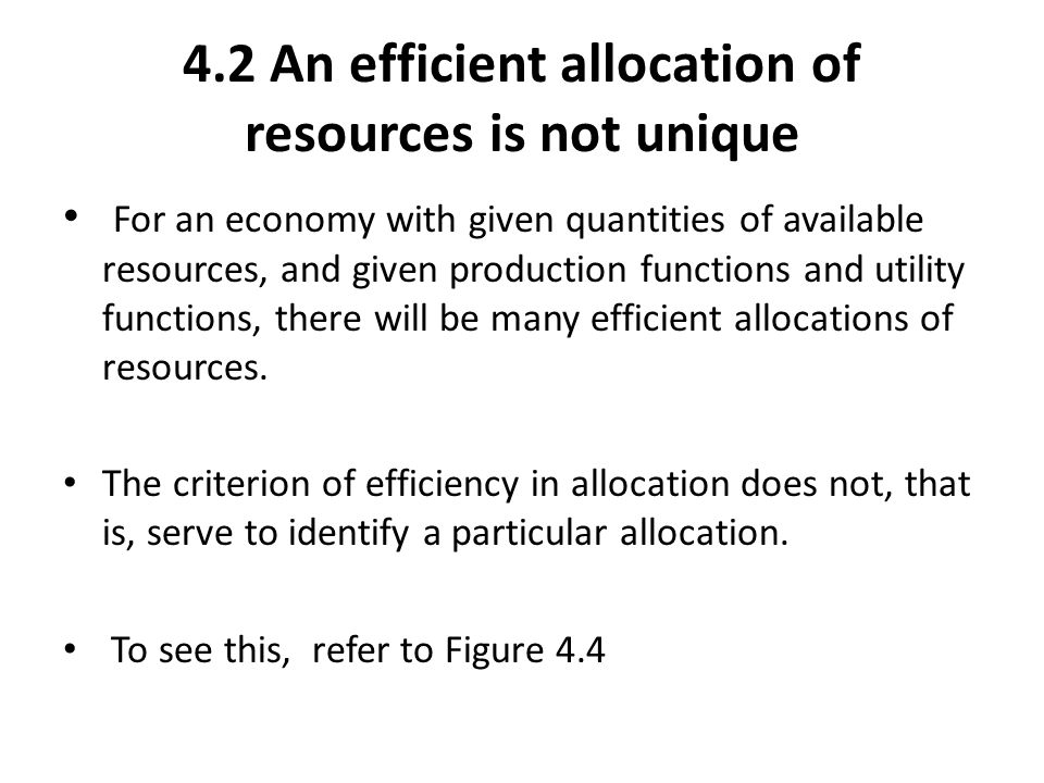 4.2 An efficient allocation of resources is not unique