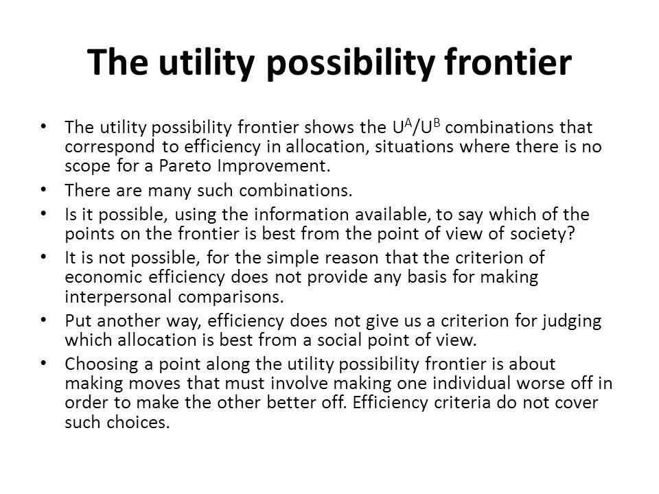 The utility possibility frontier