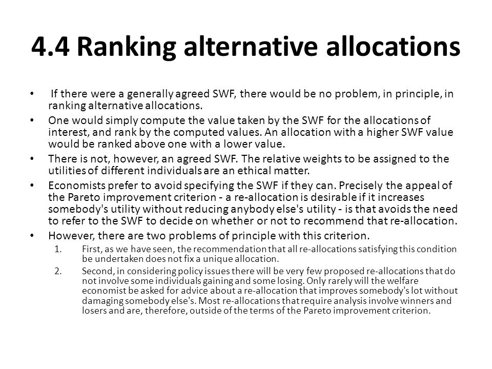 4.4 Ranking alternative allocations
