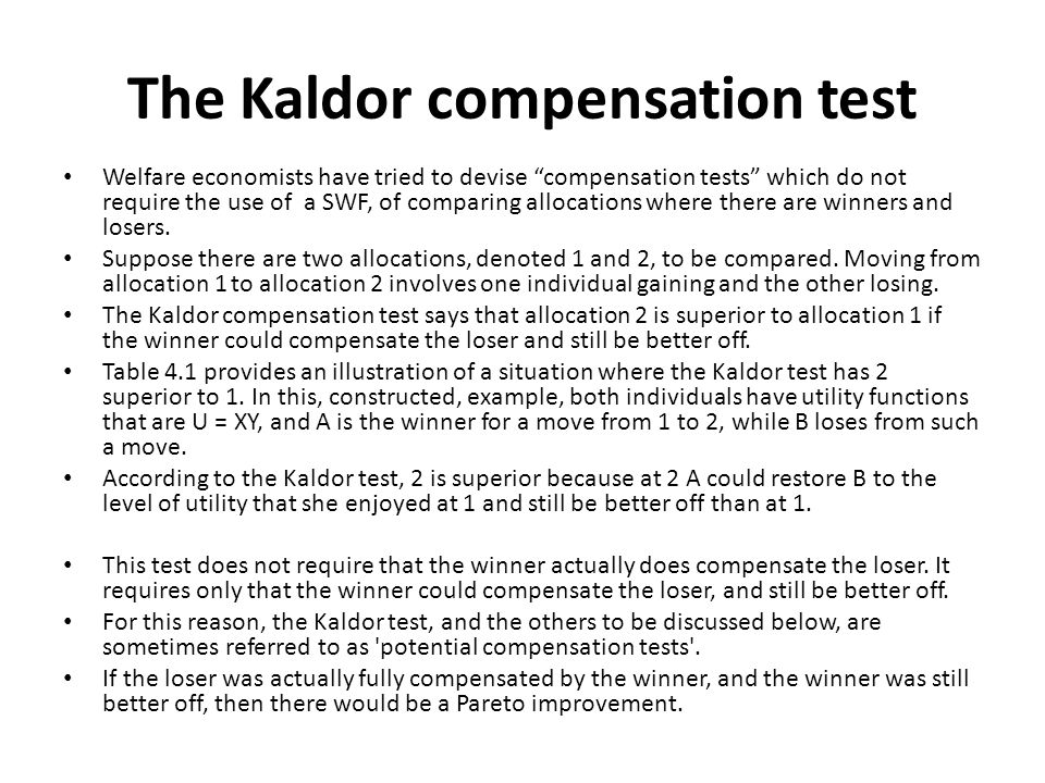 The Kaldor compensation test