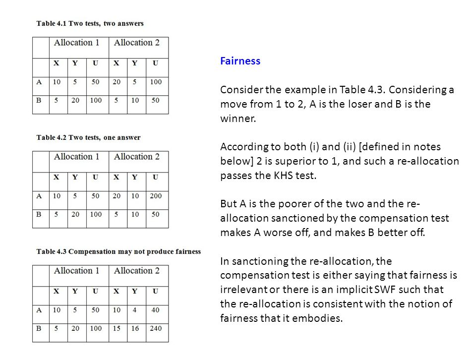 Fairness Consider the example in Table 4.3. Considering a move from 1 to 2, A is the loser and B is the winner.