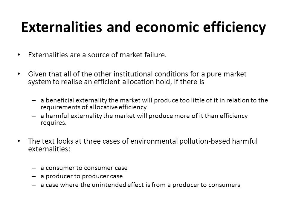 Externalities and economic efficiency