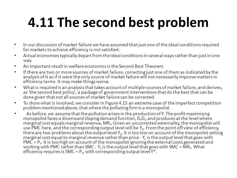 4.11 The second best problem