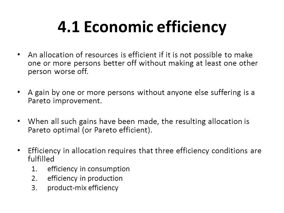 4.1 Economic efficiency