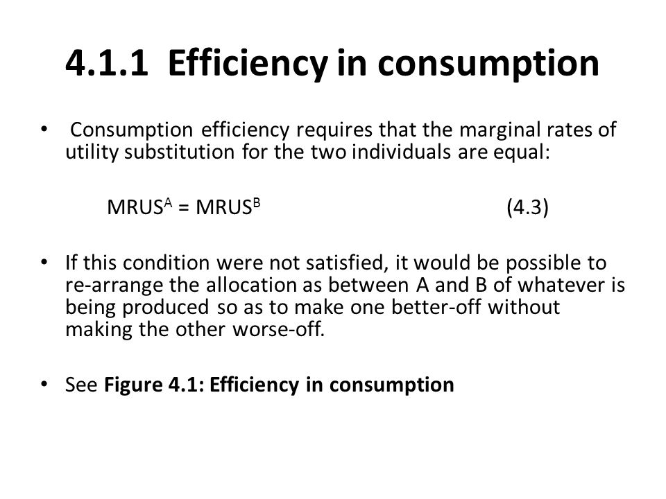 4.1.1 Efficiency in consumption
