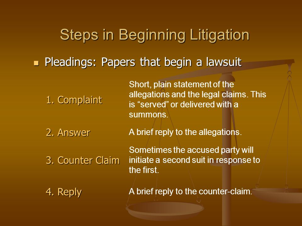 Steps in Beginning Litigation