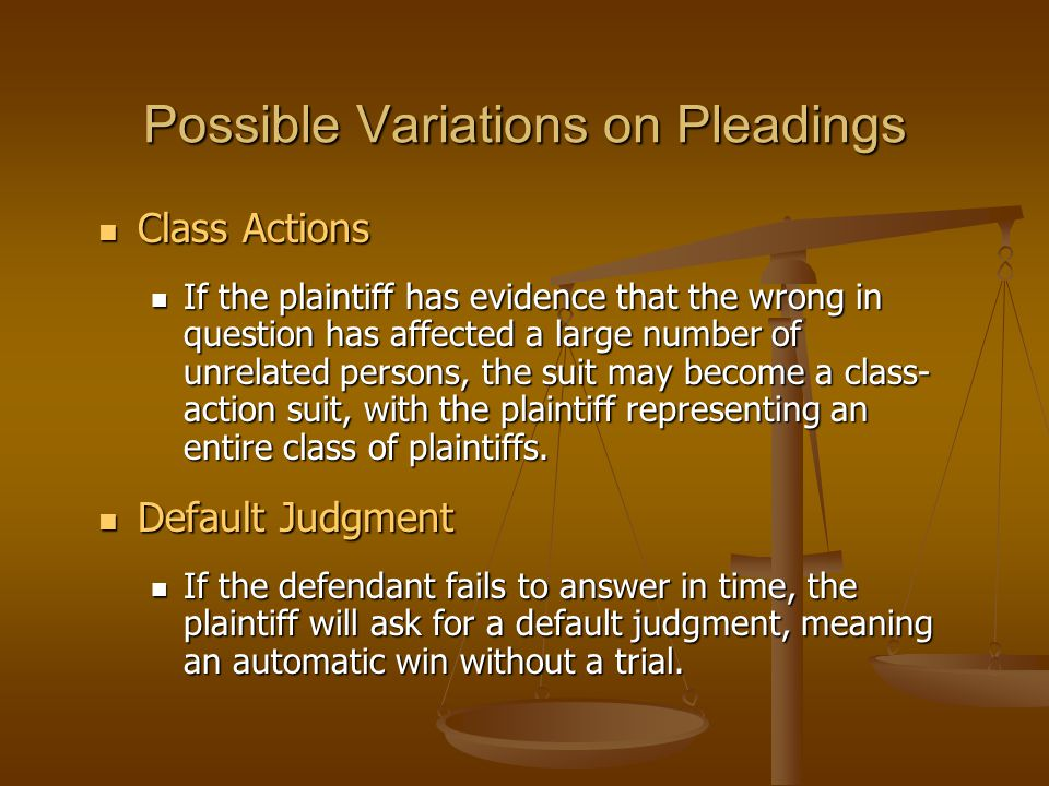 Possible Variations on Pleadings
