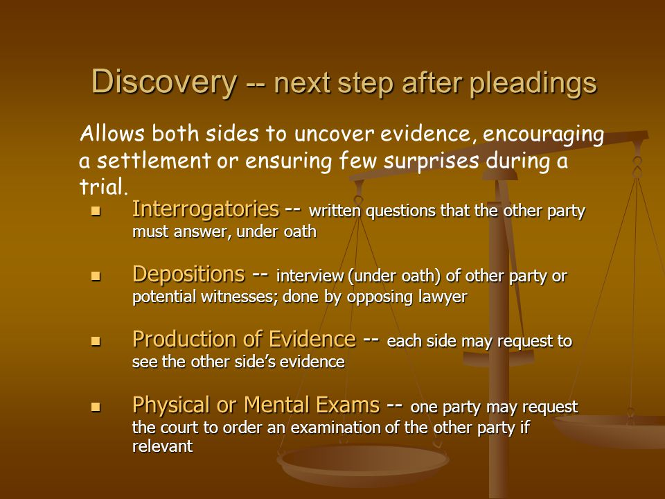 Discovery -- next step after pleadings