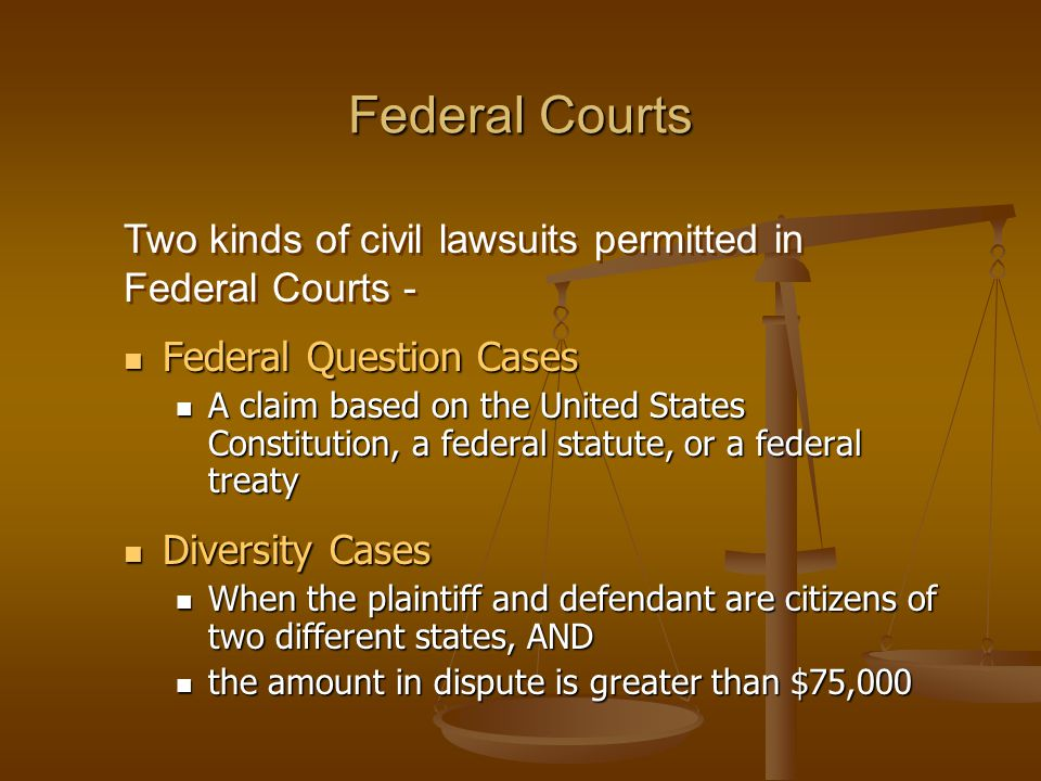 Federal Courts Two kinds of civil lawsuits permitted in Federal Courts - Federal Question Cases.