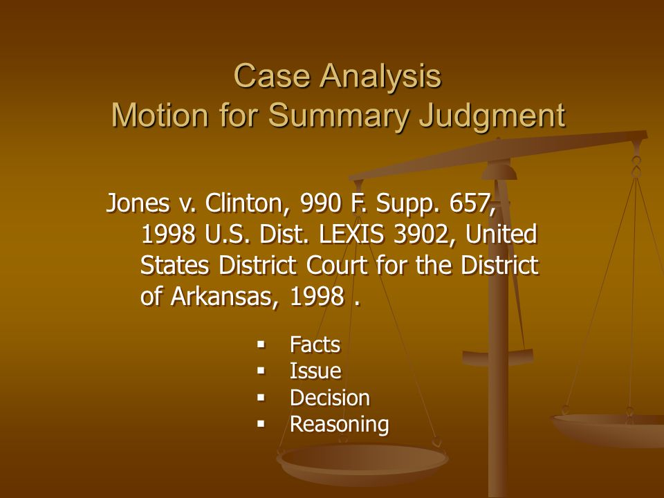 Case Analysis Motion for Summary Judgment