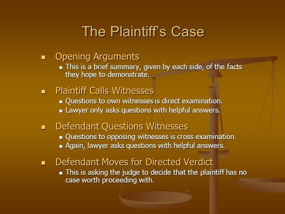 The Plaintiff's Case Opening Arguments Plaintiff Calls Witnesses