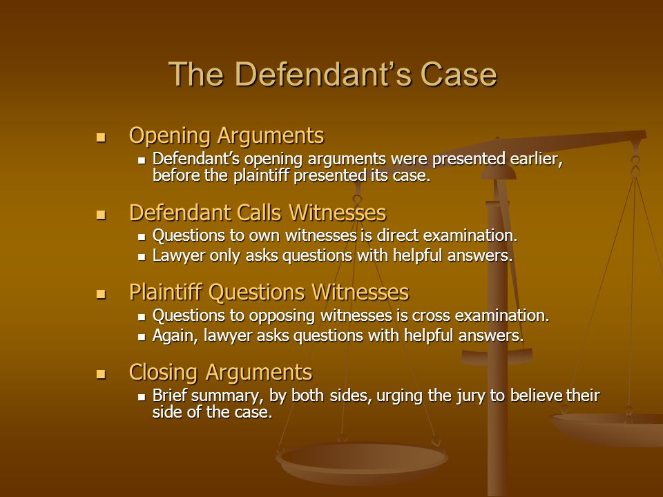 The Defendant's Case Opening Arguments Defendant Calls Witnesses