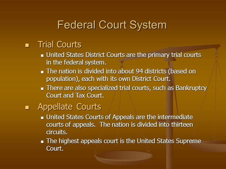 Federal Court System Trial Courts Appellate Courts