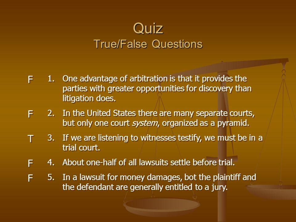 Quiz True/False Questions