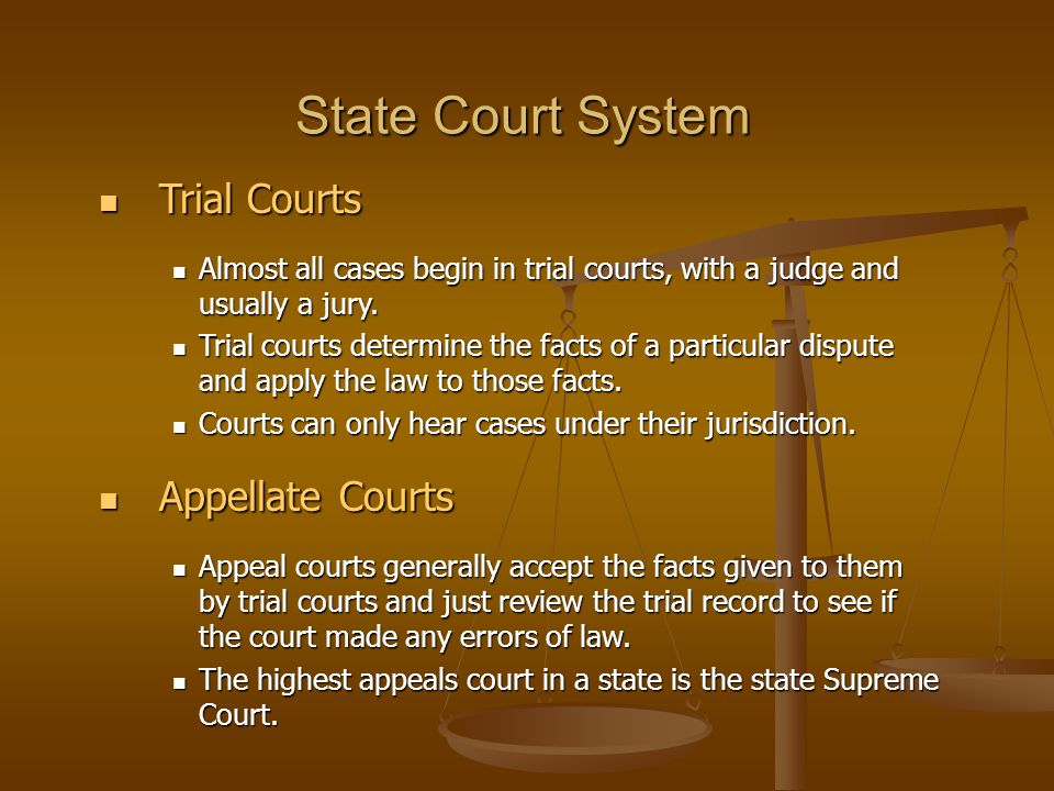State Court System Trial Courts Appellate Courts