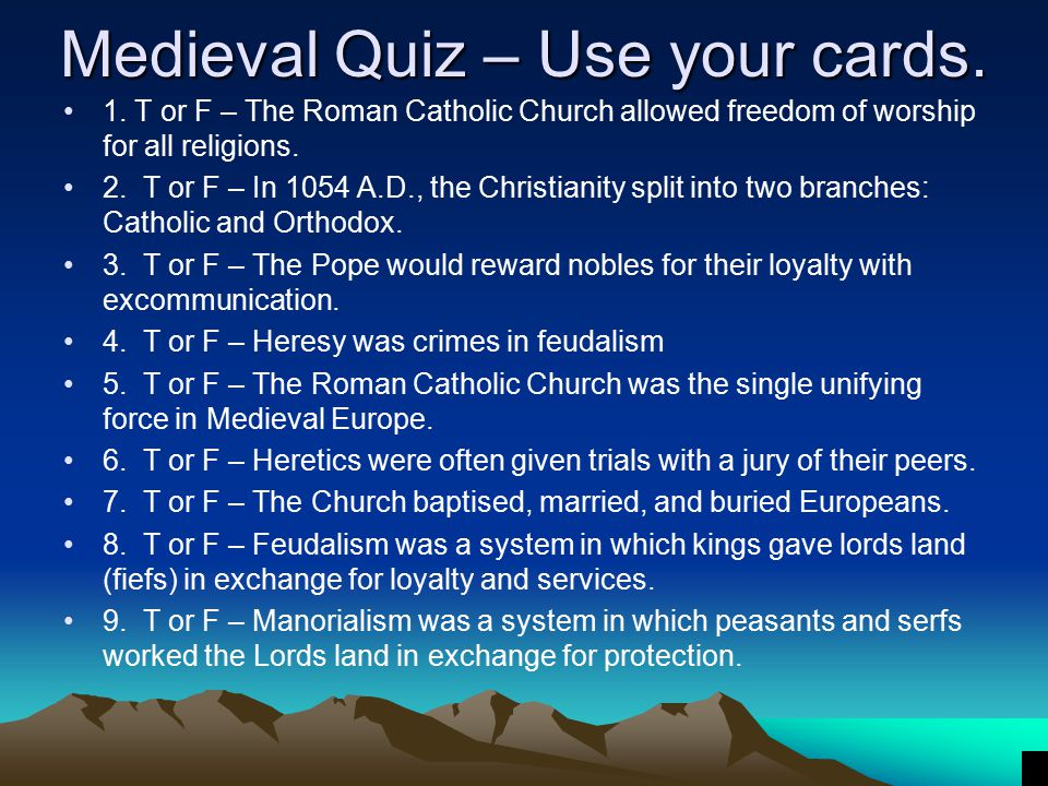 Medieval Quiz – Use your cards.
