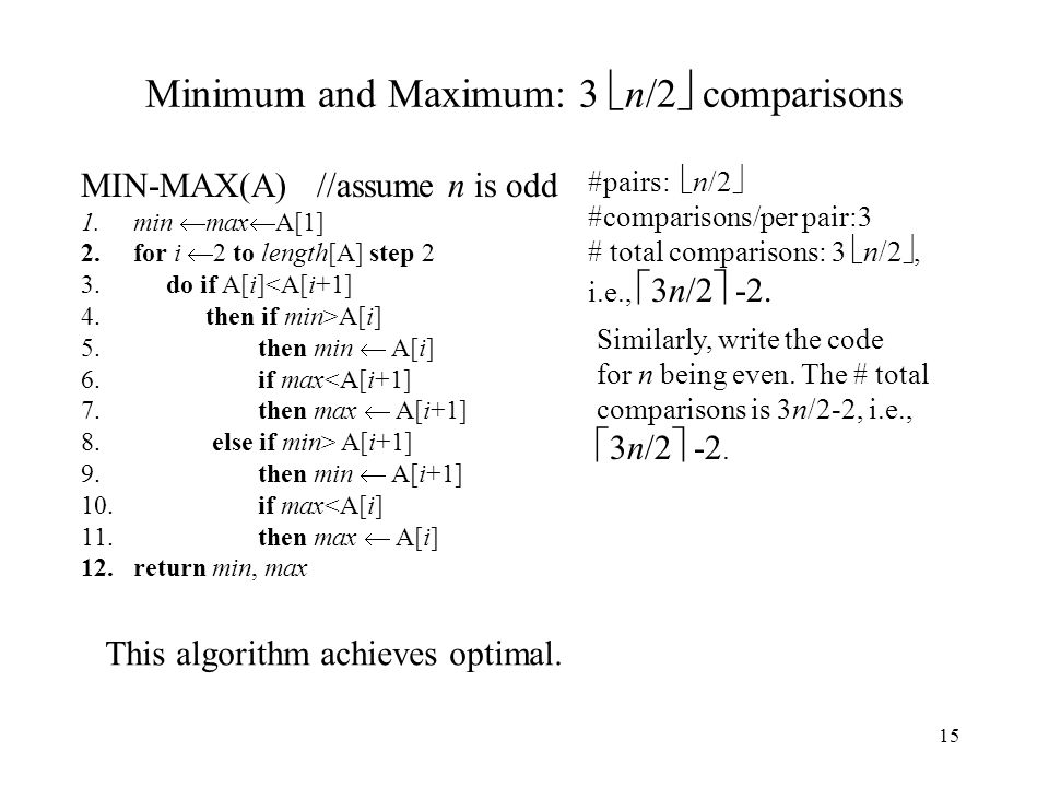 Minimum and Maximum: 3 n/2 comparisons