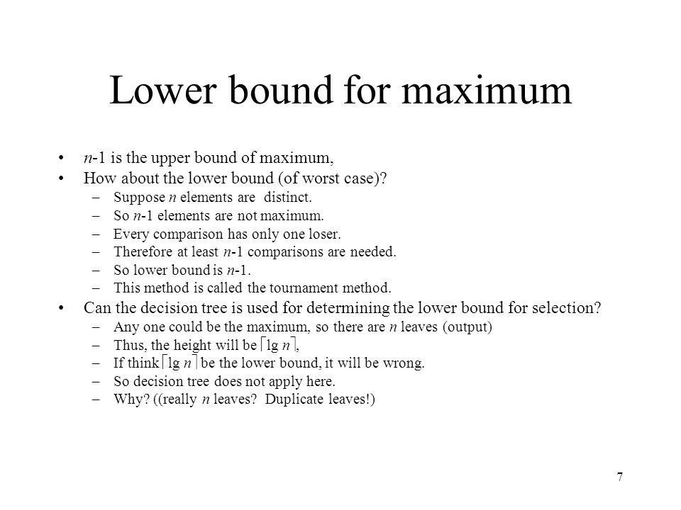 Lower bound for maximum
