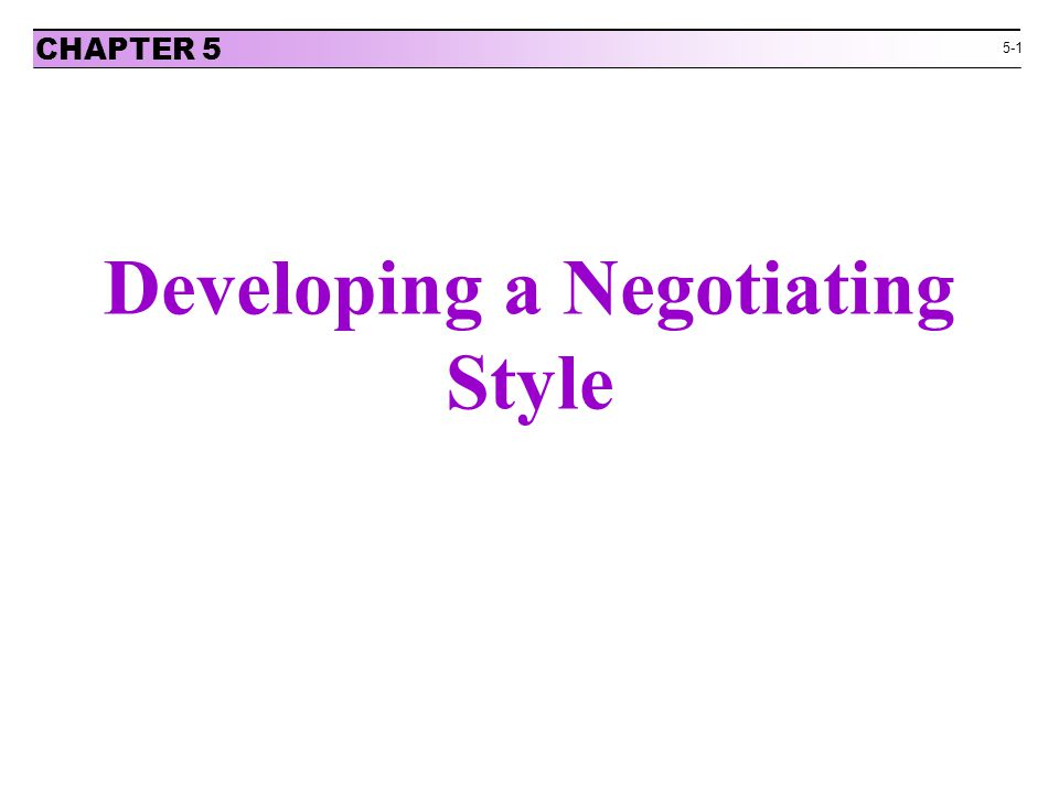 Developing a Negotiating Style
