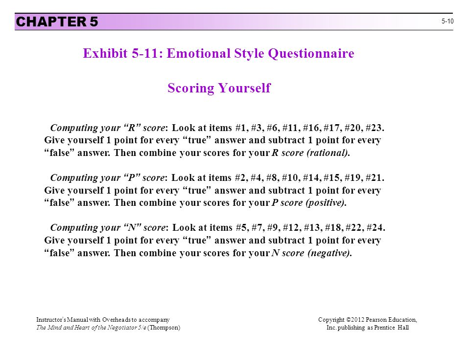 Exhibit 5-11: Emotional Style Questionnaire Scoring Yourself