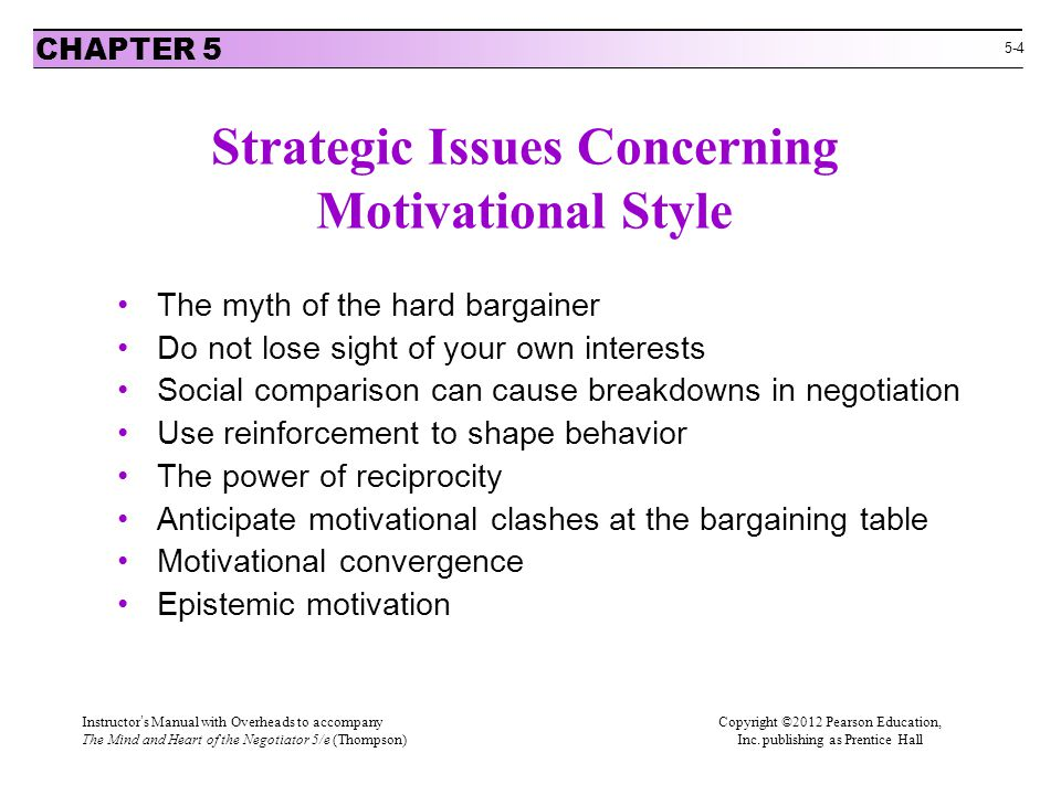 Strategic Issues Concerning Motivational Style