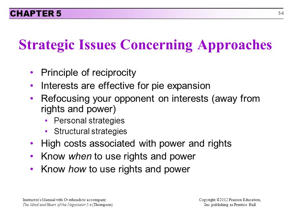 Strategic Issues Concerning Approaches