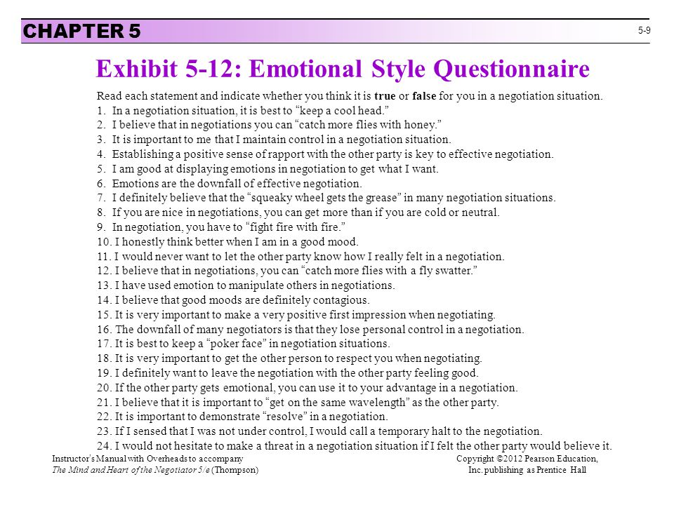 Exhibit 5-12: Emotional Style Questionnaire