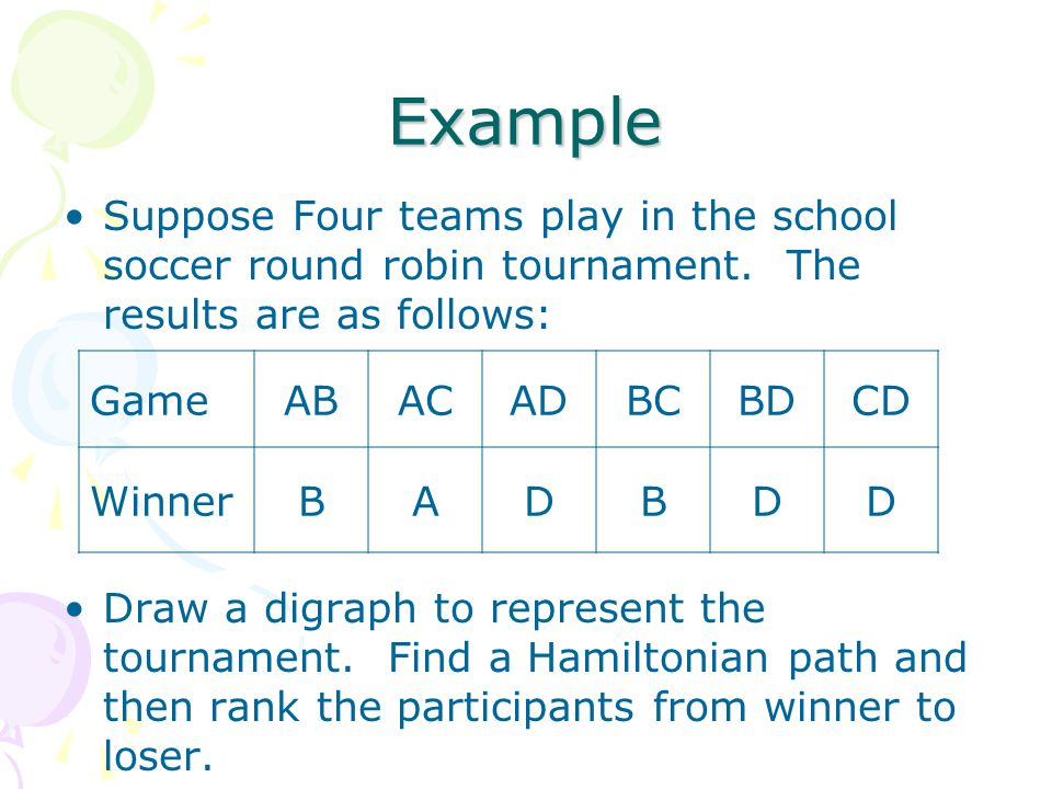 Example Suppose Four teams play in the school soccer round robin tournament. The results are as follows: