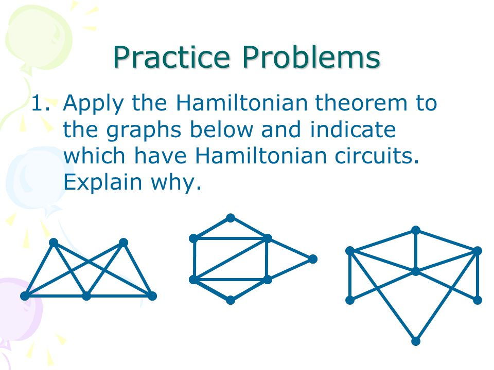 Practice Problems Apply the Hamiltonian theorem to the graphs below and indicate which have Hamiltonian circuits.