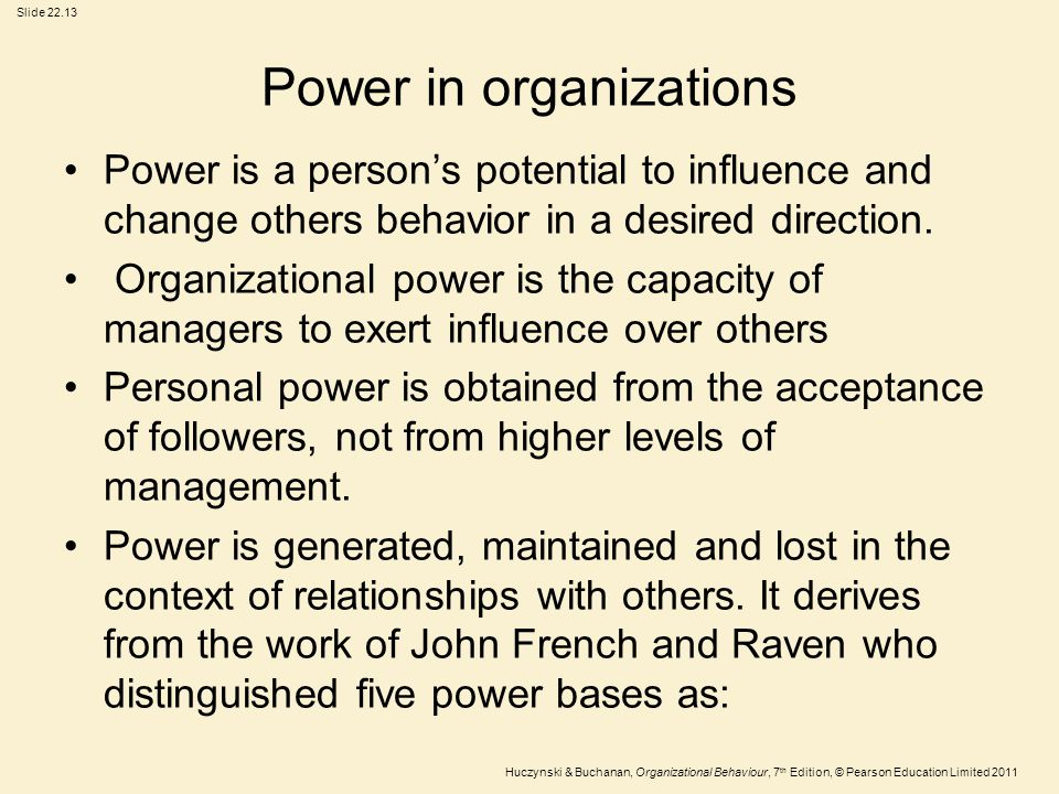 Power in organizations