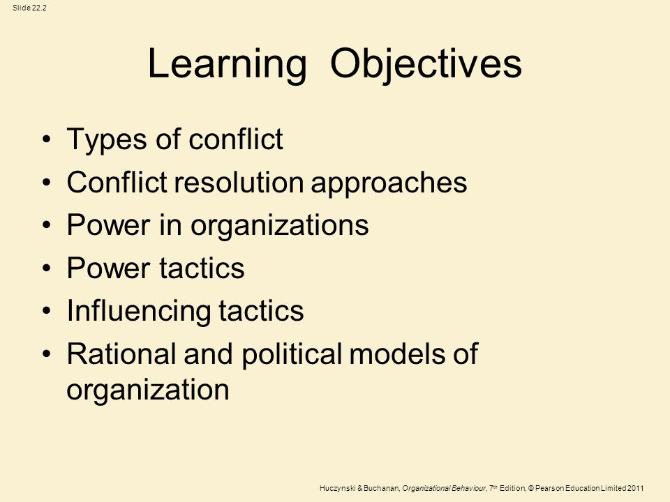 Learning Objectives Types of conflict Conflict resolution approaches