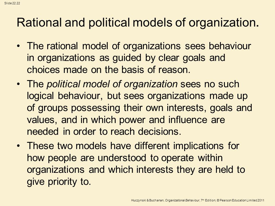 Rational and political models of organization.