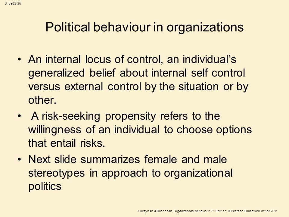 Political behaviour in organizations