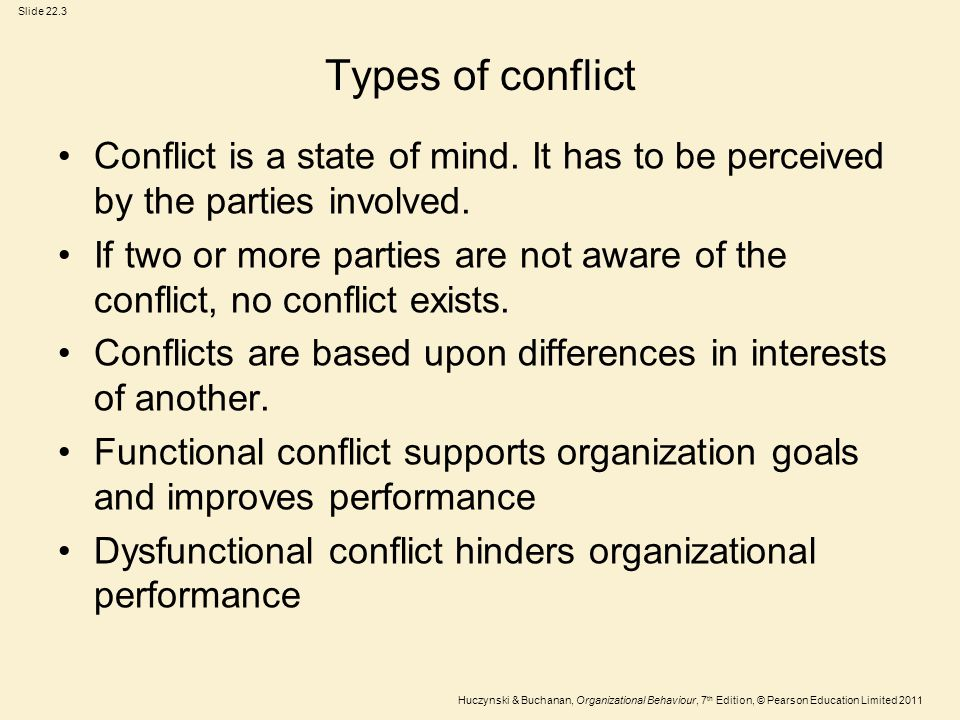 Types of conflict Conflict is a state of mind. It has to be perceived by the parties involved.