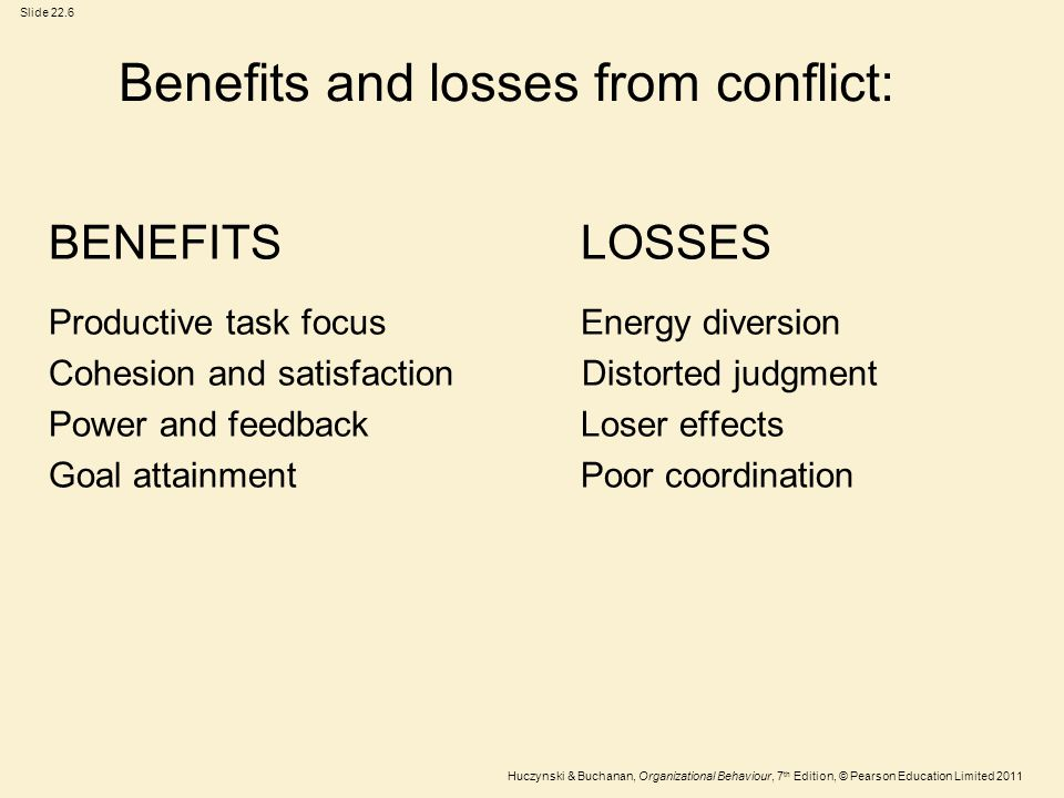 Benefits and losses from conflict:
