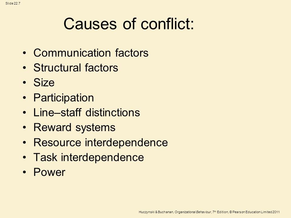 Causes of conflict: Communication factors Structural factors Size