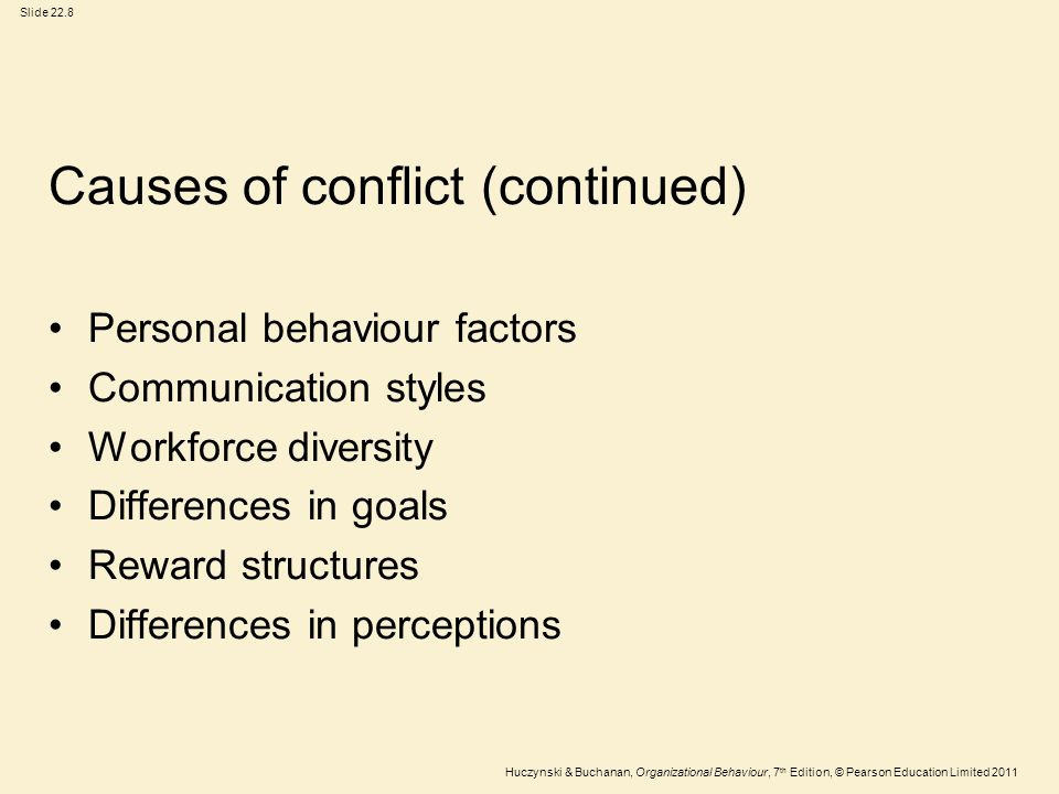 Causes of conflict (continued)
