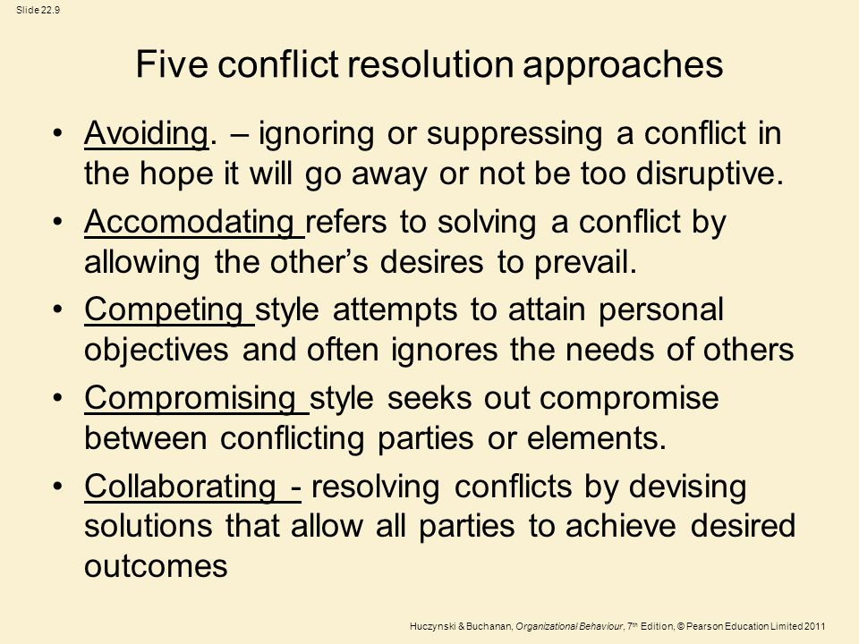 Five conflict resolution approaches