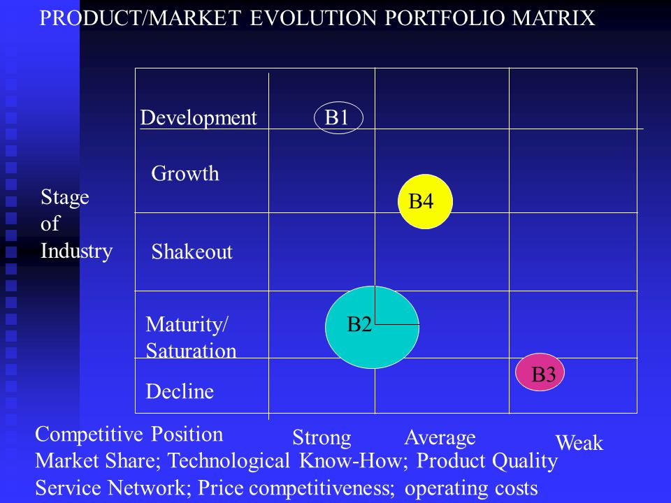 PRODUCT/MARKET EVOLUTION PORTFOLIO MATRIX