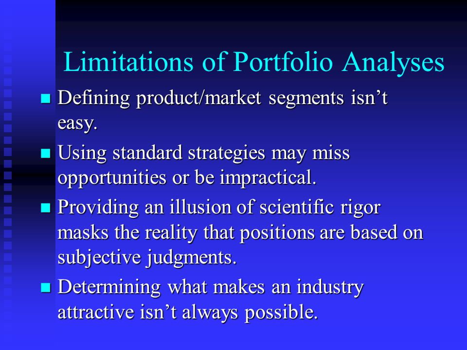Limitations of Portfolio Analyses