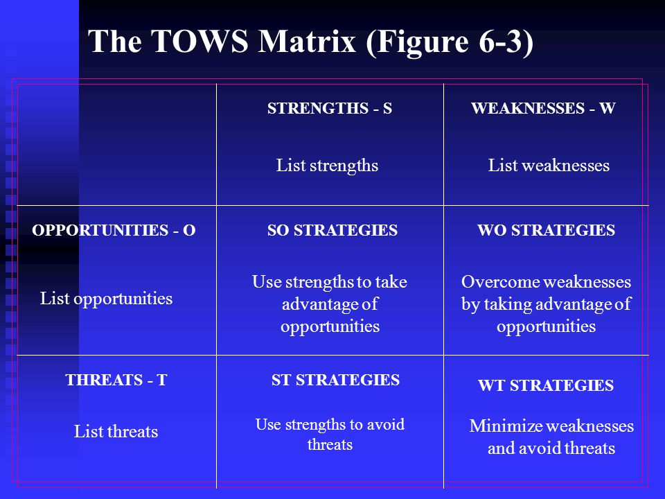 The TOWS Matrix (Figure 6-3)