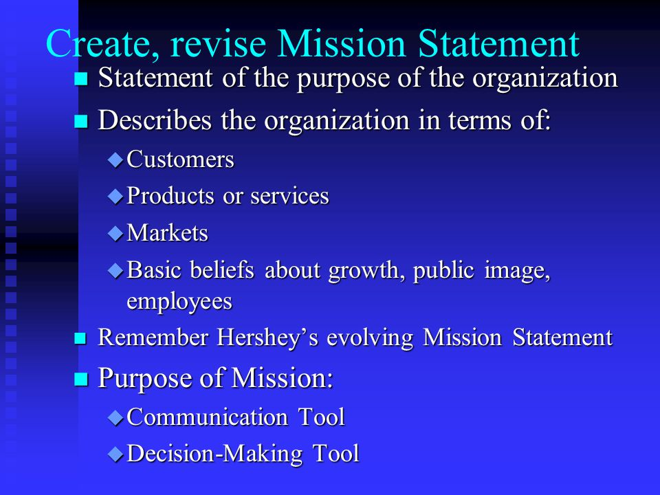 Create, revise Mission Statement