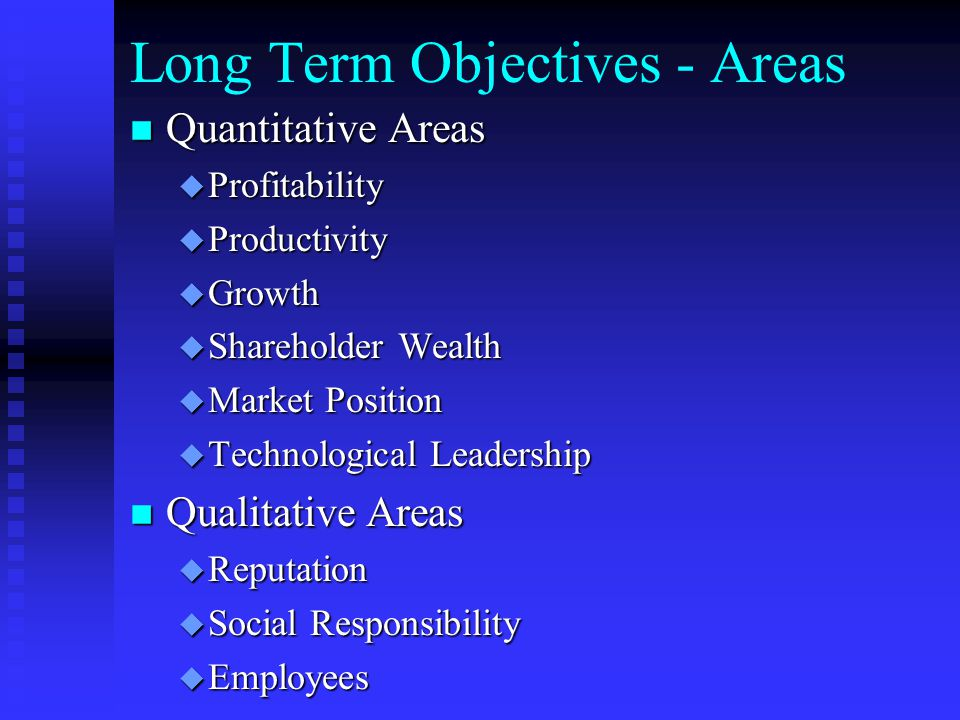 Long Term Objectives - Areas