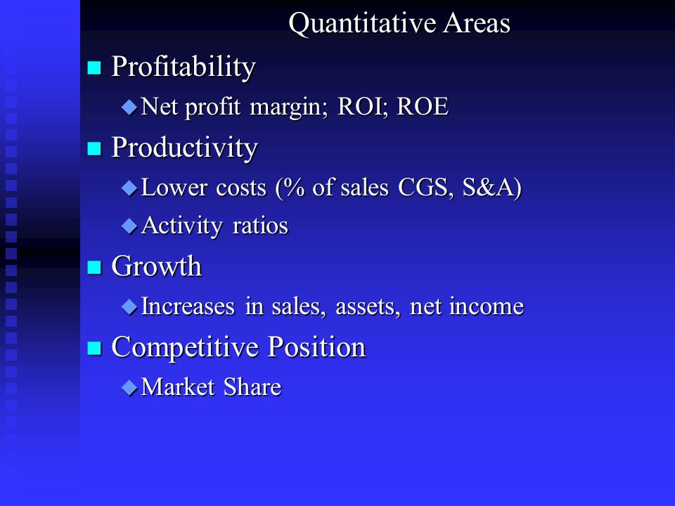 Quantitative Areas Profitability Productivity Growth