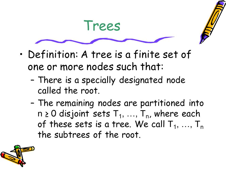 Trees Definition: A tree is a finite set of one or more nodes such that: There is a specially designated node called the root.