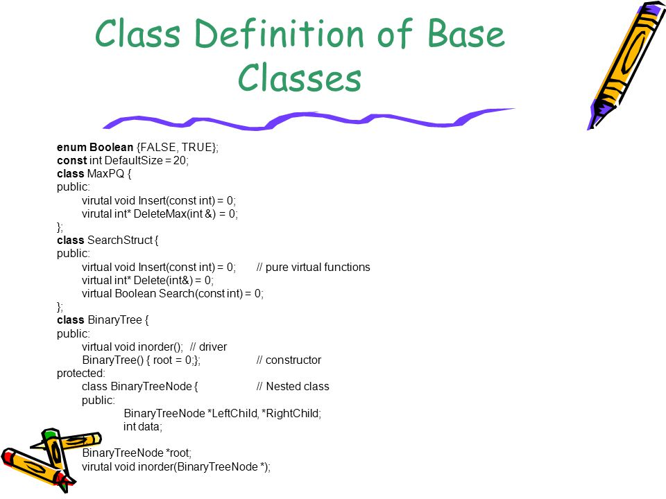 Class Definition of Base Classes